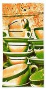 Vintage Cellar Tea Cups Painterly Bath Towel