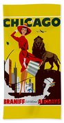 Vintage Chicago Travel Poster Bath Towel