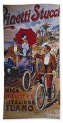 Vintage Cycle Poster Prinetti Stucchi Unica Grande Fabbrica Italiana Milano Bath Towel