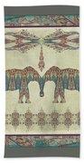 Vintage Elephants Kashmir Paisley Shawl Pattern Artwork Bath Towel