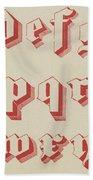 Vintage Gothic Font Red Bath Towel