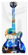 Vintage Guitar - Colorful Abstract Musical Instrument Bath Towel