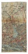 Vintage Hamburg Railway Map - 1910 Bath Towel