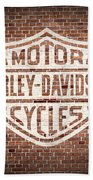 Vintage Harley Davidson Logo Painted On Old Brick Wall Hand Towel