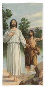 Vintage Illustration Of The Baptism Of Christ Hand Towel