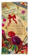Vintage Love Letters Bath Towel