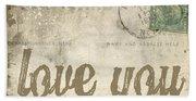 Vintage Love Letters Hand Towel