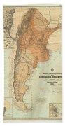 Vintage Map Of Argentina - 1882 Bath Towel