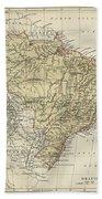 Vintage Map Of Brazil - 1889 Bath Towel