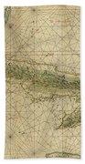 Vintage Map Of Cuba - 1639 Bath Towel