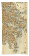 Vintage Map Of Greece - 1894 Bath Towel