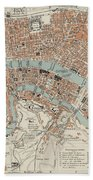 Vintage Map Of Lyon France - 1888 Bath Towel