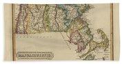 Antique Map Of Massachusetts Bath Towel