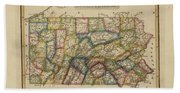 Antique Map Of Pennsylvania Bath Towel