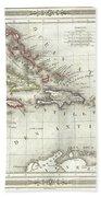 Vintage Map Of The Caribbean - 1852 Bath Towel