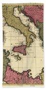Vintage Map Of The Mediterranean - 1695 Bath Towel