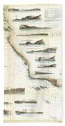 Vintage Map Of The U.s. West Coast - 1853 Bath Towel
