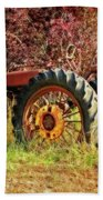 Vintage Maroon And Red Hand Towel by Amanda Smith