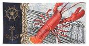 Vintage Nautical Lobster Bath Towel