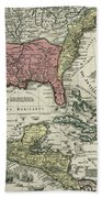 Vintage North America And Caribbean Map - 1720 Bath Towel