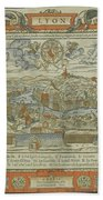 Vintage Pictorial Map Of Lyon France - 1555 Bath Towel