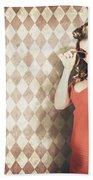 Vintage Pinup Fashion Model In Womens Sunglasses Bath Towel
