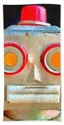 Vintage Robot Toy Square Pop Art Bath Towel