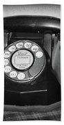 Vintage Rotary Phone Black And White Bath Towel
