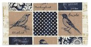 Vintage Songbird Patch 2 Hand Towel
