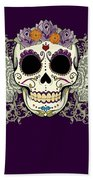 Vintage Sugar Skull And Flowers Bath Towel