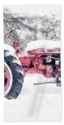 Vintage Tractor Christmas Bath Towel