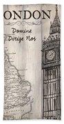 Vintage Travel Poster London Bath Towel