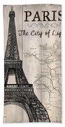 Vintage Travel Poster Paris Bath Towel by Debbie DeWitt