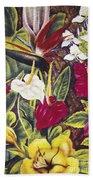 Vintage Tropical Flowers Bath Towel