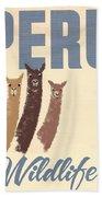 Vintage Wild Life Travel Llamas Bath Towel