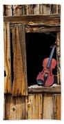 Violin In Window Bath Towel