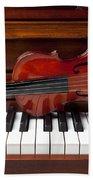 Violin On Piano Bath Towel