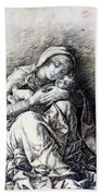 Virgin And Child Madonna Of Humility 1490 Bath Towel