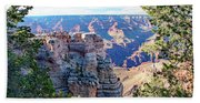 Visitors Dwarfed By Grand Canyon Vista Bath Towel