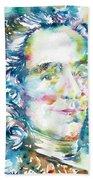 Voltaire - Watercolor Portrait Bath Towel