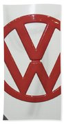 Vw Emblem In Red Bath Towel