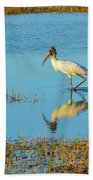 Wadding Wood Stork And Reflection Bath Towel