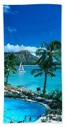 Waikiki And Sailboat Bath Towel