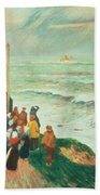 Waiting For The Return Of The Fishermen In Brittany Bath Towel