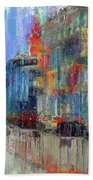 Walking Down Street In Color Splash Bath Towel