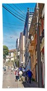Walking Up Steep Streets In Hilly Valparaiso-chile Bath Towel
