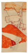 Wally In Red Blouse With Raised Knees Bath Towel