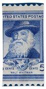 Walt Whitman Postage Stamp Bath Towel
