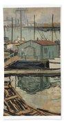 Walter  E  Schofield 1867-1944 Dock With Shed Bath Towel