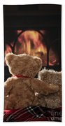 Warm And Cosy Teddies By The Fireside Bath Towel